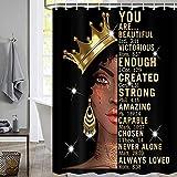 Black Girl Duschvorhang für Badezimmer, afrikanische amerikanische Afro-Frau, motivierend, inspirierendes Queen-Zitat, Badezimmer-Zubehör-Set, Polyestergewebe, wasserdicht, 12 Haken, 183 x 183 cm