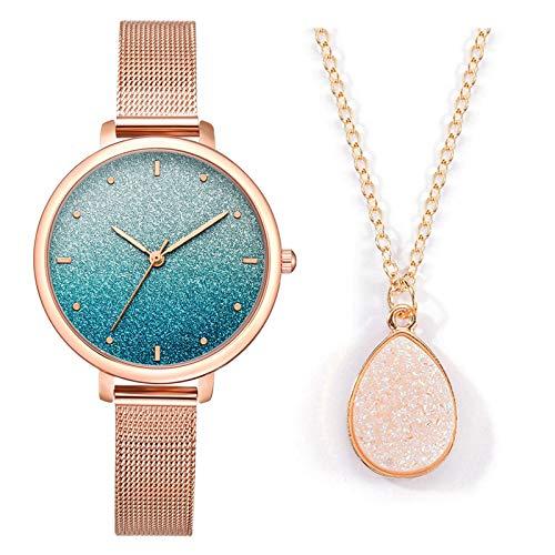 KJC Mode Damen Quarz Uhr mit Edelstahl/PU Leder Armband, Lässige Armbanduhr Mit Elegante Armbänder, Armbanduhr Set, Mädchenuhr Luxusuhren Frauenuhren Damenuhr Armbanduhren Geschenk