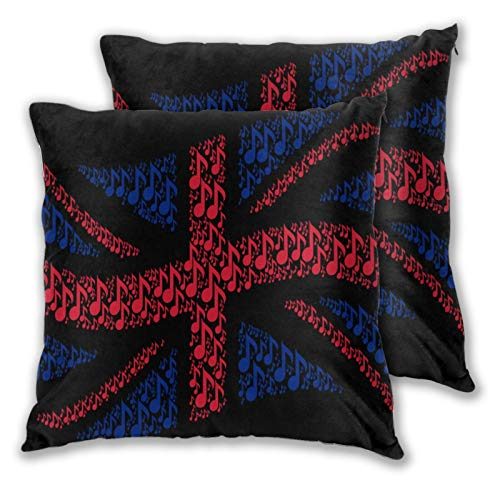 Fodera per cuscino con stampa 3D,Sventolando il collage di bandiera dello stato britannico combinato di nota music,Moderna federa per divano divano letto auto set decorazioni per la casa 18'x 18' 2pz