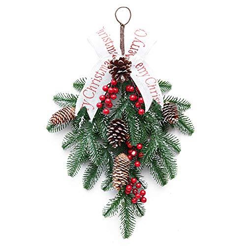 YDBET Christmas Wreath Wall Hanging Xmas Party Garland Porta Decorazione Handmade Festival Corona di Natale Capovolto Decorazioni dell'albero di Frutti Rossi, 50cm