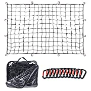 #LightningDeal 4'x6' Super Duty Truck Cargo Net for Pickup Truck Bed Stretches to 8'x12' | 12 Tangle-Free [Steel] Carabiners | [Latex] Bungee Net Mesh Holds Small and Large Loads Tighter
