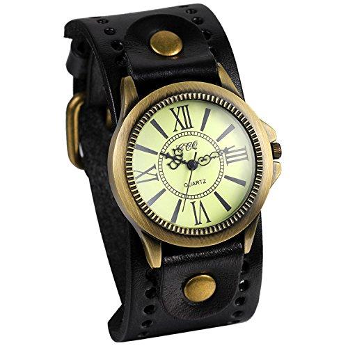 JewelryWe Retro Damen Armbanduhr, Vintage Analog Quarz Uhr mit römische Ziffern Zifferblatt, Breit Leder Armband,Schwarz