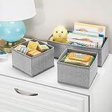 Comode scatole portaoggetti e portagiochi in Tessuto Flessibili contenitori Piccoli per Qualsiasi Oggetto Grigio MetroDecor mDesign Set da 12 scatole per Armadio e cassetti