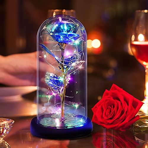 Punvot Rosa Eterna Kit, Bella y la Bestia Rose Romántica Rosa Decoración Elegante cúpula de cristal con luces LED Regalos mágicos para Cumpleaños Novia Valentine Aniversario de Boda Decoración