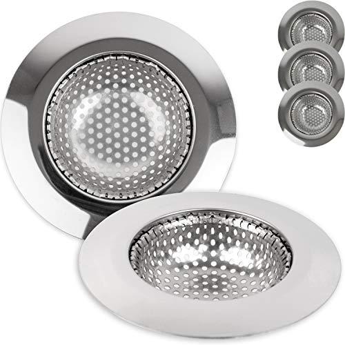 Juego de 3 coladores de desagüe, 70 mm de diámetro, adecuado para desagües de 35 a 45 mm de diámetro, colador de fregadero con ajuste optimizado, inoxidable, colador de fregadero de cocina
