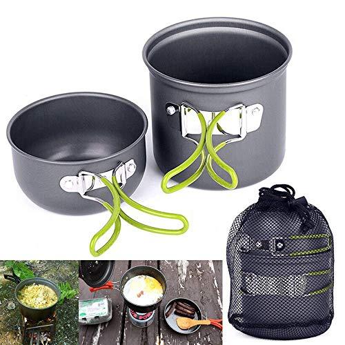 CYSHAKE Portátil Utensilios de Cocina de Camping Kit Compacto y Ligero Mochila de Picnic cocción Utensilios de Cocina Antiadherente de Aluminio Acampar Pan Pot Set Cocina portátil (Color : Green)