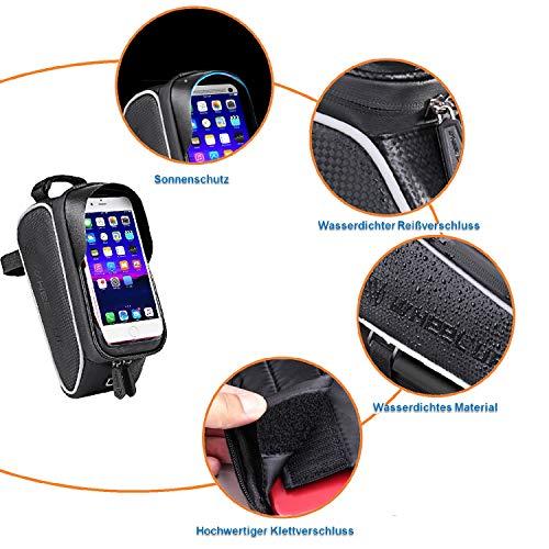 SNAWOWO Fahrrad Rahmentasche wasserdichte Fahrradtasche Oberrohrtasche Handytasche mit Sonnenblende Kopfhörerloch TPU Touchscreen Fahrrad Handyhalter für Smartphones bis 6.5 Zoll - 4