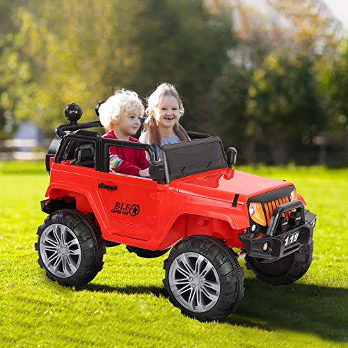 US Stock Kids Ride on Car,2.4G Two (2) Seater Ride On Truck,Parental Remote Control,Open Doors,3 Speeds,MP3 Player,Battery Powered Electric Ride On Vehicles Truck for Kids 3 4 5 6 7 8 Years Old (Red)