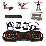 CROER Portable Home Gym - Workout Equipment with Resistance Bands + Foldable Push Up Board, Excercise Assistance for Strength Training & Yoga, 2 in 1 Fitness Set to Build Muscle and Burn Fat