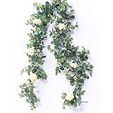 HZAMING Guirnalda de eucalipto Artificial con Rosas de champán, Guirnalda de eucalipto, Hojas de Boda, Fondo de Pared, decoración