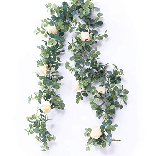 HZAMING Artificial Eucalyptus Garland with Champagne Roses Greenery Garland Eucalyptus Leaves Wedding Backdrop Wall Decor (Eucalyptus Garland with White Rose) (Eucalyptus Garland With White Rose)