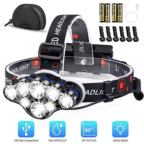 Mirviory Stirnlampe, Superhelle Kopflampe 18000 Lumen 8 LED 8 Modi mit Rotem Warnlicht, USB Stirnlampe Wiederaufladbar Wasserdicht Einstellbar für Outdoor, Camping, Fischen, Wandern