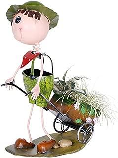 Wonderland Metal Boy Push Cart Pot For Home , Garden Decor