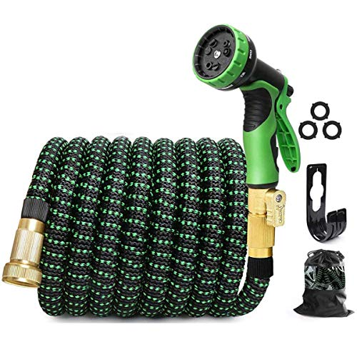 Garden Hose Expandable Water Hose, Expanding Retractable Water Hose, Strongest Hose Fabric + Multi Latex Core Solid Brass Fittings, Best Choice for Watering and Washing,15m/50 Feet