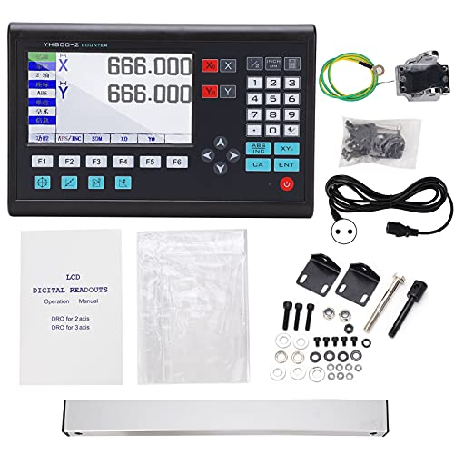 Medidor de pantalla LCD de lectura digital de 2 ejes para máquina de torno de fresado, codificador lineal de escala lineal, incremento TTL de alta precisión(Enchufe de la UE)