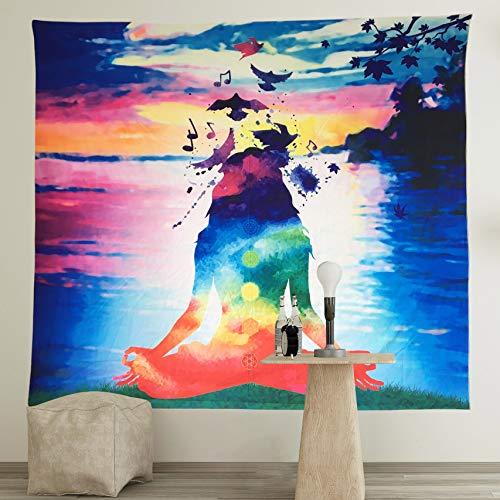 Neasyth Chakra Tapisserie Yoga Studio Wandbehang Polyester Meditationsraum Indischer psychedelischer Druck Chakren Tapisserien (Meditations-Wandteppich, 149,9 x 129,5 cm)