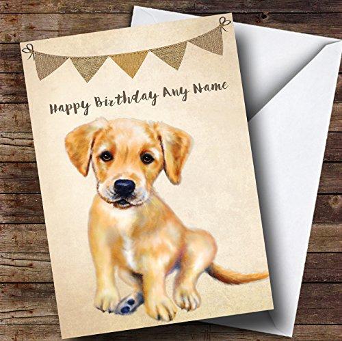 Vintage jute Bunting Hond Golden Labrador Puppy Gepersonaliseerde Verjaardagskaart