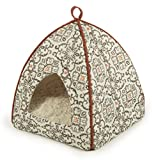 Sterling Secluded Cat Tent Bed, Plush with Moroccan Patterned Fabric