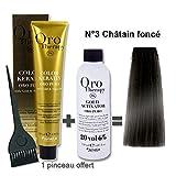 Lot coloration cheveux 100 ml Oro Therapy châtain foncé 3/ + oxydant 20 volumes 150 ml