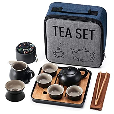 Travel Kung Fu Tea Pot Cup Set with Tray - Portable Chinese Ceramic Porcelain Teapot Gift Bag All in One for Business Hotelet Infuser Outdoor Picnic