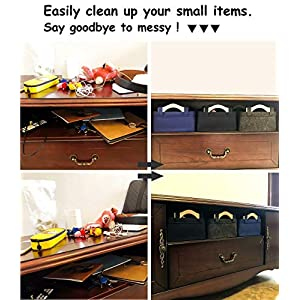 Small Storage Baskets Felt Rectangle Basket Storage Bins for DVD CD Record Cord Books Video Electronics Items Remote TV Cabinet Organizer with Handles