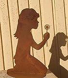 Mädchen mit Pusteblume 40 cm Kind Rost Edelrost Metall Rostfigur Metallfigur + Original Pflegeanleitung von Dekowelt