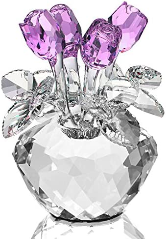 H&D Spring Bouquet Crystal Glass Flowers Red Rose Figurine Ornament Gift-boxed