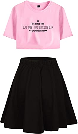 Yicool BTS Falda de Camisa para niñas Love Yourself Speak Yourself Tour Summer Set Vestido tee