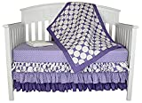 Bacati Zig Zag and Dots 4-in-1 Cotton Baby Crib Bedding Set, Purple