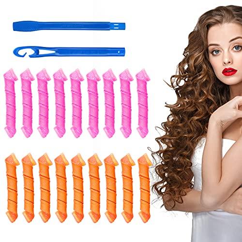Sinwind 18Pcs Magic Spiral Lockenwickler Set Haarstyling-Werkzeuge Keine Hitze Flexible DIY-Lockenwickler mit Styling-Haken für Frauen Mädchen (Mehrfarbig)