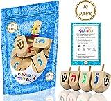 Hanukkah Dreidel 10 Extra Large Wooden Dreidels Hand Painted - Includes Game Instruction Cards! (10-Pack XL Dreidels) (10-Pack XL Dreidels)