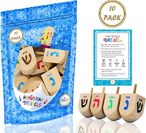 Best Price Hanukkah Dreidel 10 Extra Large Wooden Dreidels Hand Painted - Includes Game Instruction ...