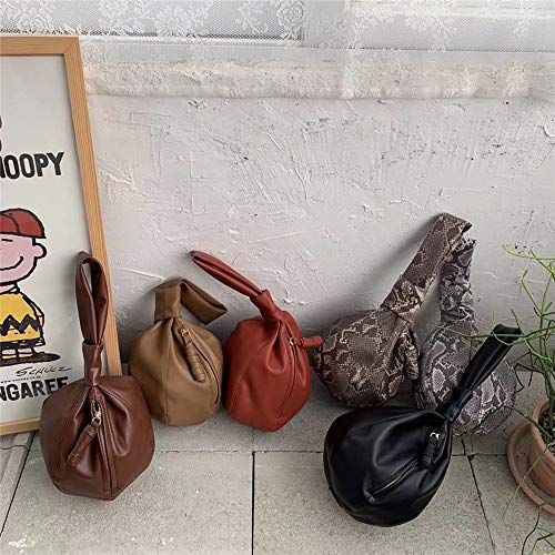 Fashion Round Bags Women Handbags Brands Chic Small Wrist Top-Handle Bag Ladies Tote Fashion Dinner Party Purses (Grey snake)