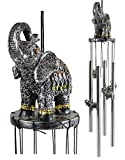 Ebros Gift Feng Shui Zen Noble Thai Buddha Trunk Up Elephant with Filigree Design Figurine Crown Top Resonant Wind Chime with Miniature Ornamental Elephants for Garden Patio Home Decorative Accent