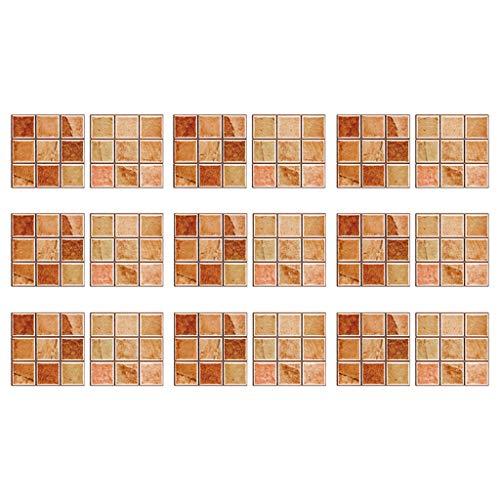 18 stück Mosaik Fliesenaufkleber Selbstklebende Klebefolie 3D Fliesen Sticker Aufkleber Klebefliesen Fliesendekor Fliesenfolie Bordüre Mosaikfliesen Wasserdicht Küche Badezimmer (D)