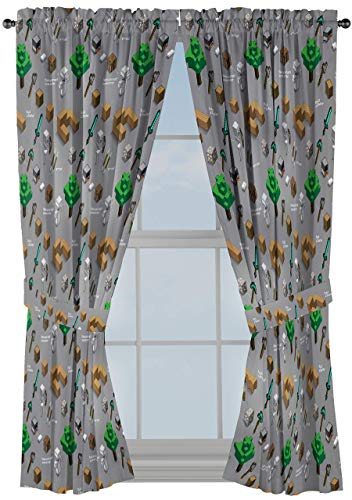 """Minecraft Survive Dark 63"""" inch Drapes 4 Piece Set - Beautiful Room Décor & Easy Set up - Window Curtains Include 2 Panels & 2 Tiebacks (Official Minecraft Product)"""
