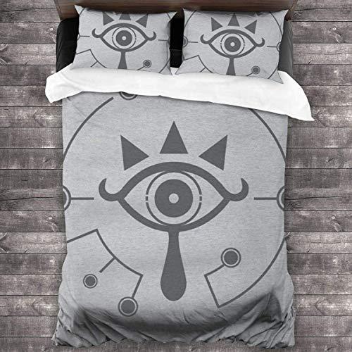 Qoqon Legend of Zelda Adem van The Wild Sheikah Eye 3 stuks beddengoed set dekbedovertrek decoratieve 3-delige beddengoed set met 2 kussenshams