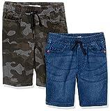 Spotted Zebra Boys' Kids Stretch Denim Shorts, 2-Pack Camo/Indigo, Medium