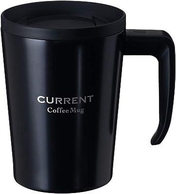 Atlas(アトラス) 内面によごれが付きにくい カフェマグカップ 330ml ブラック ASM-330BK 真空断熱 蓋付 コップ グラス コーヒー 紅茶