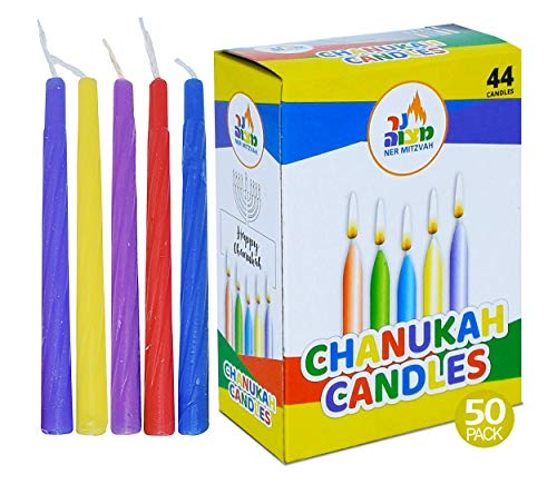 Ner Mitzvah Bulk Colorful Chanukah Candles 50-Pack - Standard Size Fits Most Menorahs - Premium Quality Wax - Assorted Colors - Bulk Pack for All 8 Nights of Hanukkah