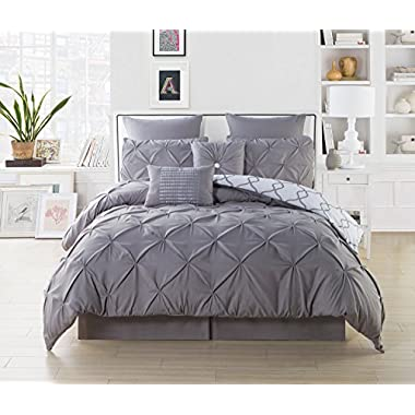 Duck River Textiles 8 Piece Esy Reversible Pin Tuck Printed Comforter Set, Grey, Queen