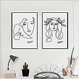 Picasso Poster Skizze Kunst Bilder Frau Gesicht Leinwand