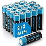 Lote de 20 pilas alcalinas AA de 1,5 V potentes, de almacenamiento de 10 años, LR6, pilas para mando a distancia, radio despertador, reloj y linterna de bolsillo