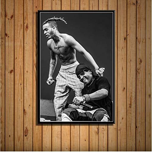 NVRENHUA Ski Mask The Slump God Rap Hip Hop Rapper Star Music Art Painting Canvas Poster Wall Home Decor Artwork 50X70 cm Frameless