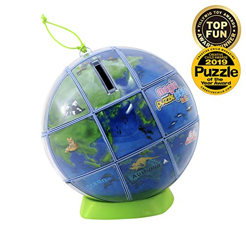 BEST LEARNING Magic Puzzle Globe - 3D Earth World Map Puzzles for Children Kids - Smart Educational Desk Toy Globes for Teens & Adults - Preschool Geography STEM Toys for Boys & Girls - 26 Pieces