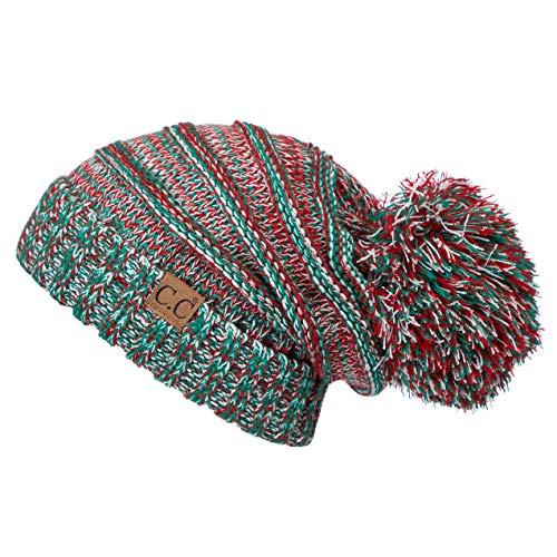 Hatsandscarf CC Exclusives Unisex Oversized Slouchy Beanie with Pom (HAT-6242POM) (X-MAS)