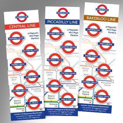 Magnetische Lesezeichen, Motiv U-Bahn London Central Line , 6 Stück