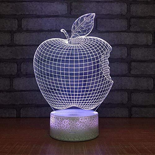 3D nachtlampje voor kinderen, Apple en 7 kleuren, nachtlampje, decoratiefolie, led-nachtlampje voor de kinderkamer, voor jongens en meisjes, Kerstmis, verjaardagscadeau.