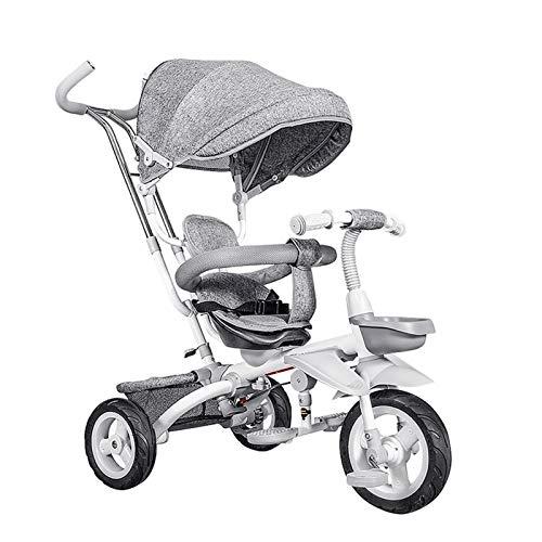 Triciclos for Niños,Ruedas De Goma Triciclo Evolutivo Bebé 4 En 1 Trike for Niños con Capota Extraíble Y Plegable Gris Oscuro (Color : Gray)
