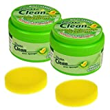 Pierre Clean formato ECONOMIQUE 1,2kg (2x 600g) y sus 2esponjas–Producto a base de arcilla, appelé aussi Pierre rénovante o de barro, que permite de limpiar, pulir y proteger NATURELLEMENT